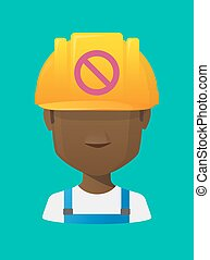 Worker avatar with  a forbidden sign