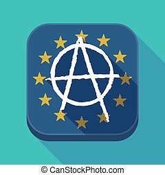 Long shadow EU square button with an anarchy sign -...