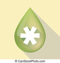 Long shadow olive oil drop with an asterisk - Illustration...
