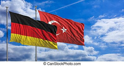 Turkey and  Germany waving flags on blue sky. 3d illustration