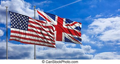 England and America waving flags on blue sky. 3d illustration