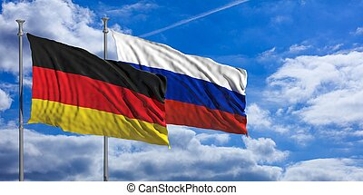 Russia and  Germany waving flags on blue sky. 3d illustration