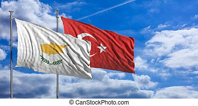 Turkey and  Cyprus waving flags on blue sky. 3d illustration