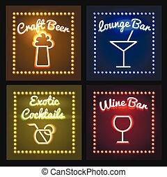 Bar or Barrel Shop Neon Sight set