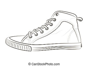 Sketch of sports shoes on a white background.