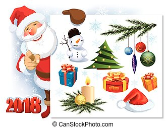 Santa Claus with Christmas decoration set