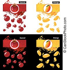 Set template icon of fruit, garnet and mango - Set label...
