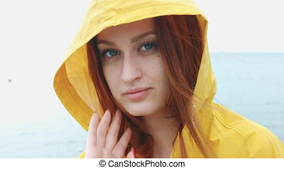 Woman looking at camera and smiling. - Beautiful woman in...