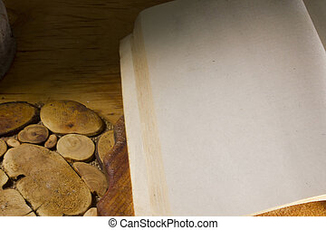 Book on an old wooden surface