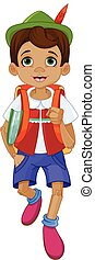 Pinocchio Going to School - Illustration of Pinocchio going...
