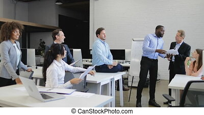 Business People Have Problem Discussing Documents, Crisis In Businesspeople Team Working Together On Meeting With Reports