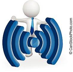 WiFi internet 3D white people man logo