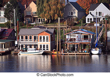 Living on the water, Portland Orego - Parked boats and...