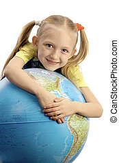 Little Smiling Girl Embracing the Globe at the White...