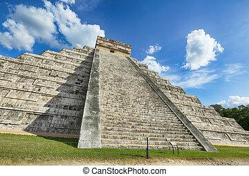 itza, Chichen, pirámide, México, Yucatán, mundo, maravilla...