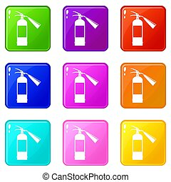 Fire extinguisher icons 9 set - Fire extinguisher icons of 9...