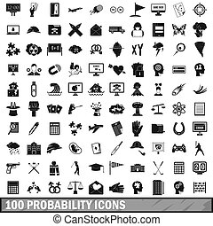 100 probability icons set, simple style