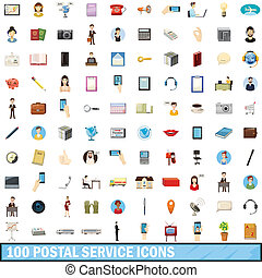 100 postal service icons set, cartoon style - 100 postal...