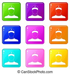 Parking attendant icons 9 set - Parking attendant icons of 9...