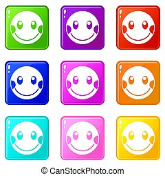 Embarrassed emoticons 9 set - Embarrassed emoticons of 9...