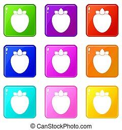 Ripe persimmon icons 9 set - Ripe persimmon icons of 9 color...