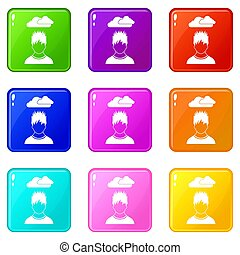 Depressed man with dark cloud over his head icons of 9 color...