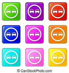 No overtaking road traffic sign icons 9 set - No overtaking...