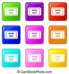 Parking ticket icons 9 set - Parking ticket icons of 9 color...
