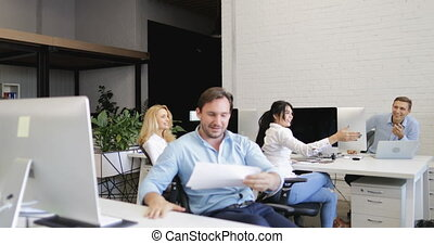 Confident Business Man Put Legs On Desk, Throw Away...