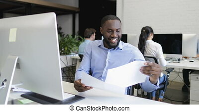 African American Business Man Manager Working On Computer...