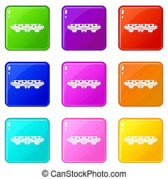 Monorail train icons 9 set - Monorail train icons of 9 color...
