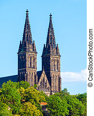 Two towers of Basilica of Saint Peter and Paul in Vysehrad...