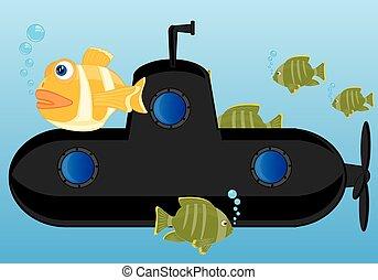 Submarine of the black colour
