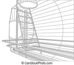 industrial,  eps10, creado, formato, tanque,  wire-frame,  vector,  3D