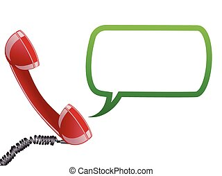 Telephone receiver and speech bubble