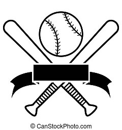 Crossed Baseball Bats And Ball with banner