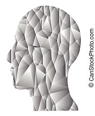 gray gradient Geometric head