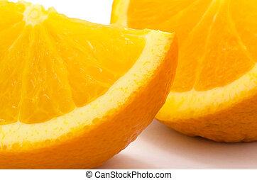 Orange slice, close up, isolated on white background