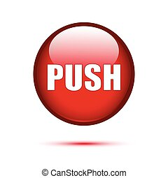 Red Glossy push button on white background