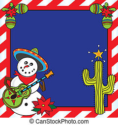Mexican Christmas Card - Snowman mariachi with candy cane...