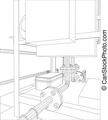 Petroleum gas heating furnace. Tracing illustration of 3d.