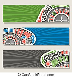 Vector set of gamble banners for Casino: 3 web headers with...