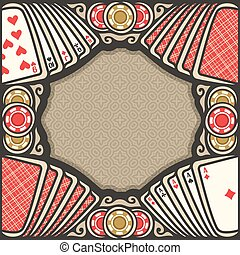 Vector poster for Poker gamble: frame with brown background...