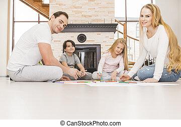 vivente, disegno, stanza, famiglia, insieme