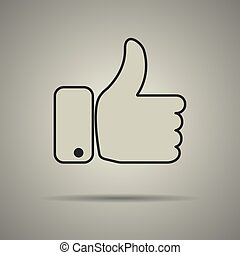 Thumbs up icon, like icon, flat style, black and white...