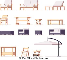 Vector patio and outdoor furniture set - Vector low poly...