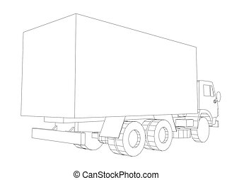 Truck with cargo container. Transportation concept