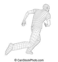 Wire frame running man