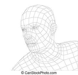 Wire frame mans head. Vector rendering of 3d. Technology...