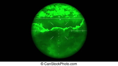 Searching the sky with single night vision scope includes...